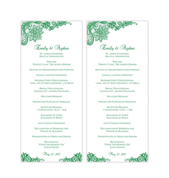 Slim Wedding Program Template Vintage Lace Emerald Green Printable DIY
