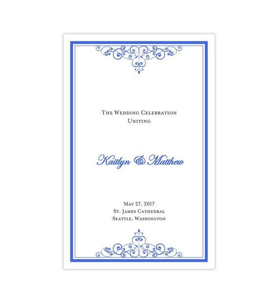 Wedding Program Template Vintage Royal Blue Printable DIY