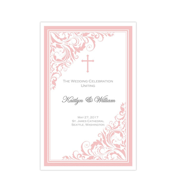 Catholic Wedding Program Brooklyn Pink Printable DIY