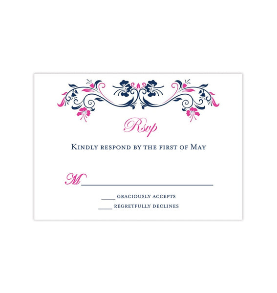 Wedding Response Cards Annabelle Navy Blue Fuchsia Pink Printable DIY Templates