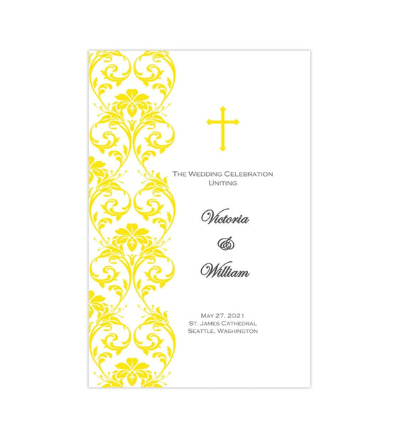 Catholic Church Wedding Program Damask Yellow Printable DIY