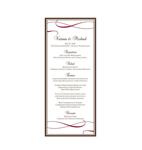 Wedding Menu Card It's Love Chocolate Brown Red Tea Length Printable DIY Templates
