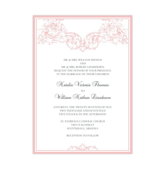 Vienna Wedding Invitation Blush Pink Printable DIY Templates