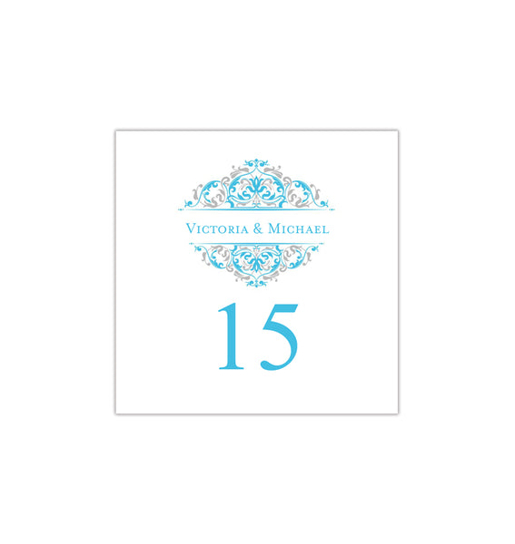 Printable Table Number Template Grace Malibu Blue Silver Tent DIY Wedding