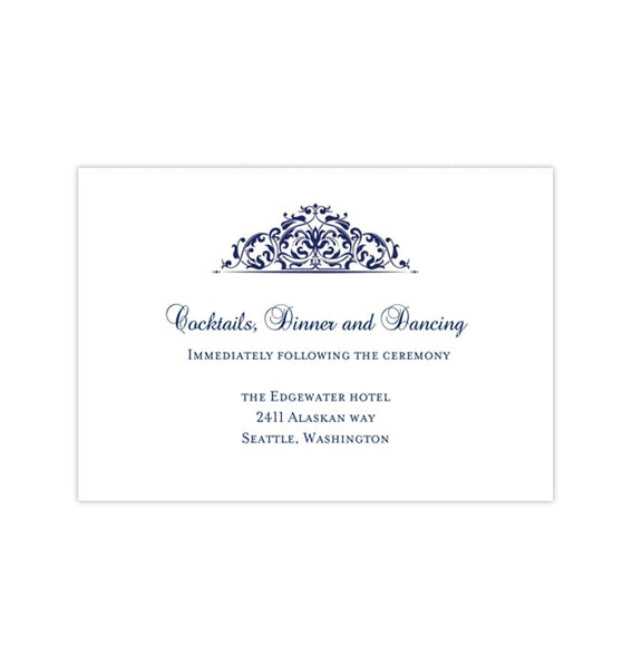 Wedding Reception Invitations Grace Navy Blue Printable Templates