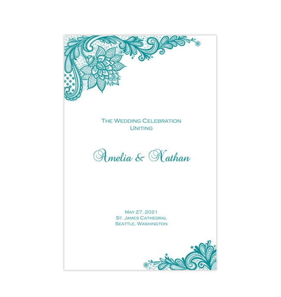 Wedding Program Template Vintage Lace Teal Blue Printable DIY