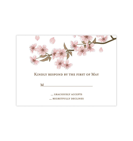 Wedding Response Cards Cherry Blossom Printable DIY Templates