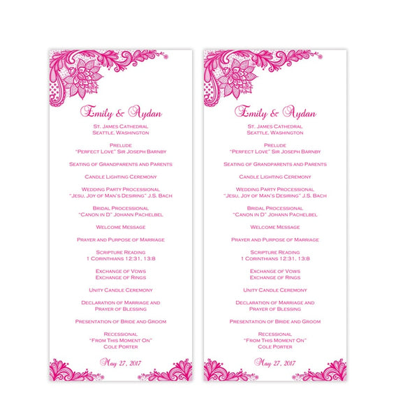 Slim Wedding Program Vintage Lace Fuchsia Hot Pink Printable DIY Templates