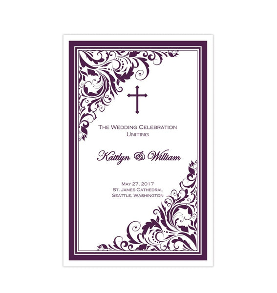 Catholic Church Wedding Program Brooklyn Purple Printable DIY