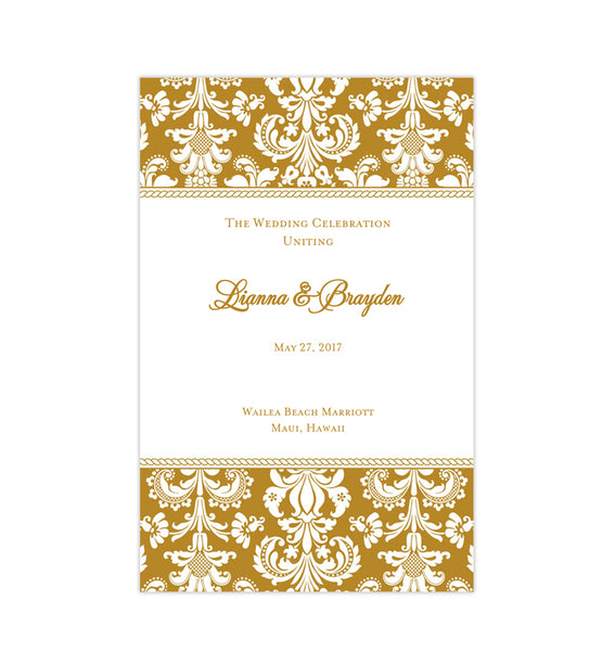 Wedding Program Template Damask Gold Printable DIY