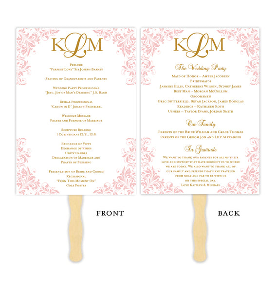 Wedding Program Fan Kaitlyn Blush Pink Gold Monogram Printable DIY Templates