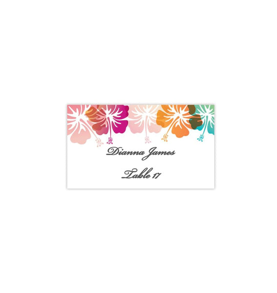 Wedding Seating Card Hibiscus Tent Printable DIY Place Template