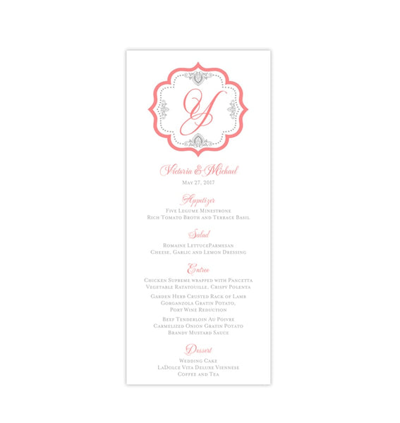 Wedding Menu Card Monogram Coral Gray Tea Length Printable DIY Templates