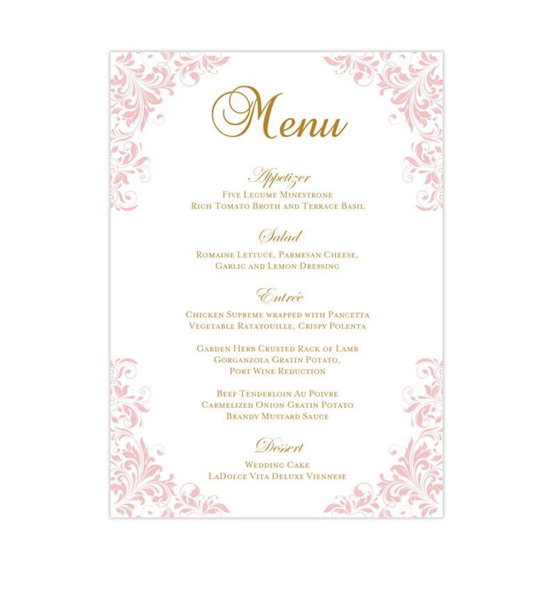image about Printable Menu Template called Wedding ceremony Reception Menu Template Kaitlyn Blush Purple 5x7