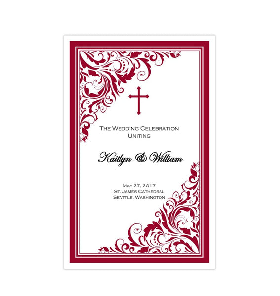 Catholic Church Wedding Program Brooklyn Red Printable DIY