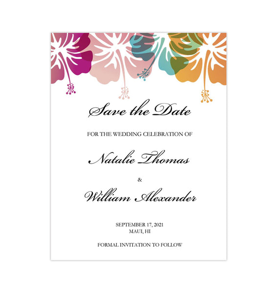 Wedding Save the Date Cards Tropical Hibiscus Printable DIY Templates