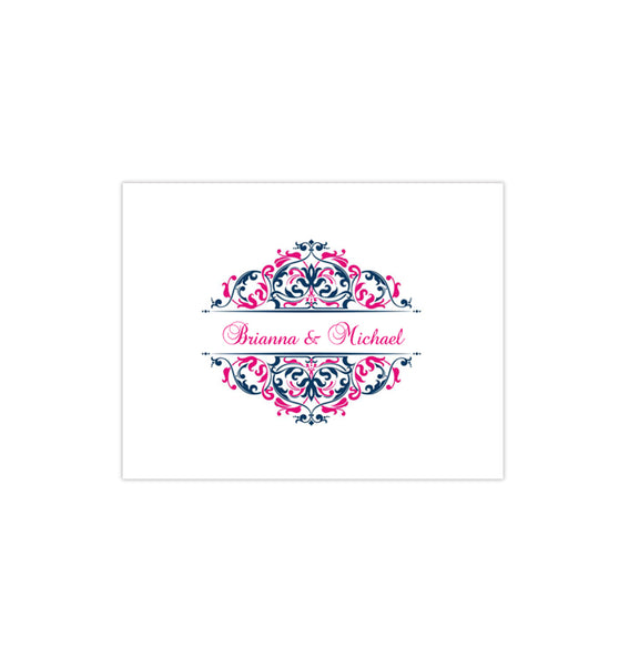 Wedding Thank You Card Grace Navy Blue Fuchsia Hot Pink Printable DIY templates