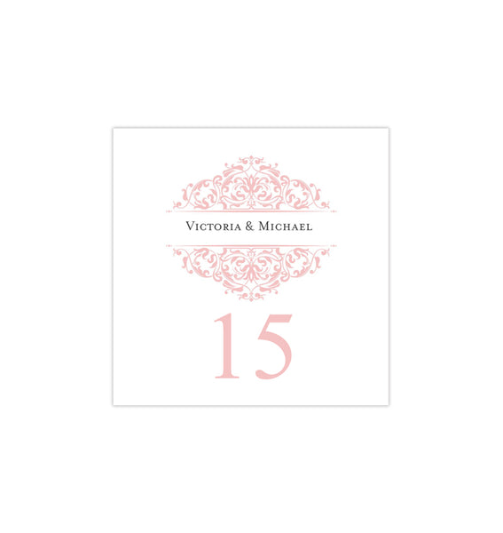 Printable Table Number Template Grace Tea Rose Pink Tent DIY Wedding