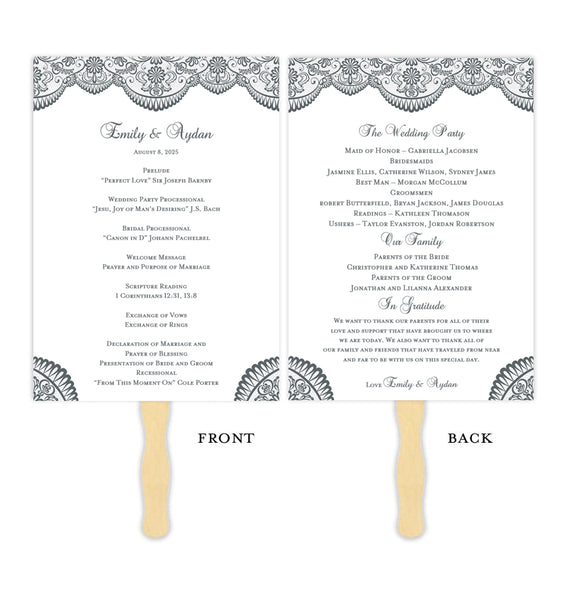 Wedding Program Fan Vintage Lace Medium Gray Printable DIY Templates