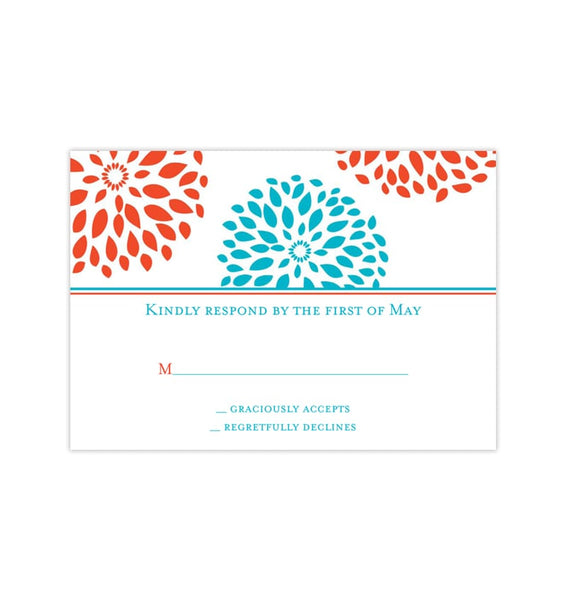 Wedding Response Cards Floral Petals Coral Turquoise Printable DIY Templates