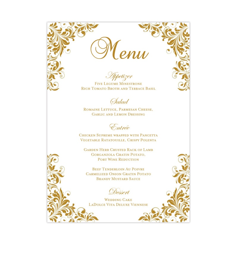 wedding reception menu template kaitlyn gold 5x7 wedding. Black Bedroom Furniture Sets. Home Design Ideas