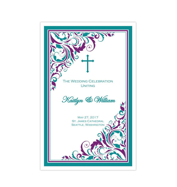 Catholic Church Wedding Program Brooklyn Peacock Purple and Teal DIY Printable