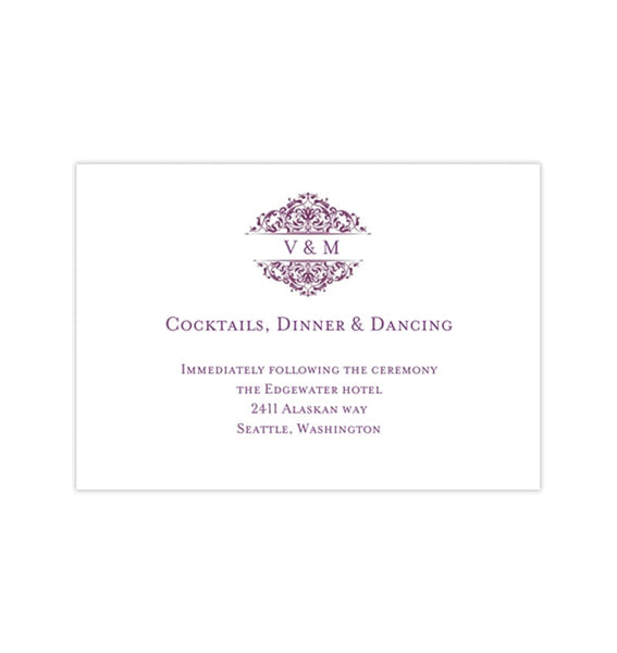 Wedding Reception Invitations Grace Plum Purple Reception Templates