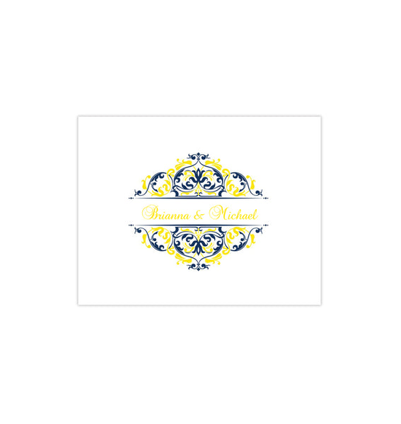 Wedding Thank You Card Grace Navy Blue Lemon Yellow Printable DIY Template