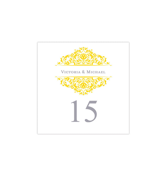 Printable Table Number Template Grace Yellow Gray Tent DIY Wedding