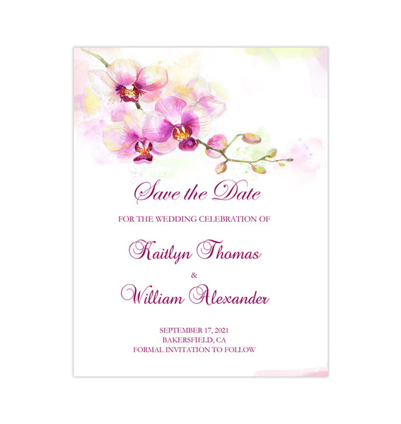 Wedding Save the Date Cards Tropical Orchid Purple Printable DIY Template