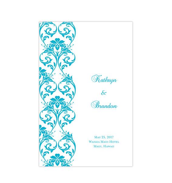 Wedding Program Template Damask Malibu Blue Printable DIY