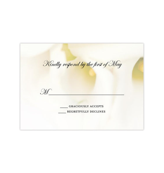 Wedding Response Cards Calla Lily Printable DIY Templates