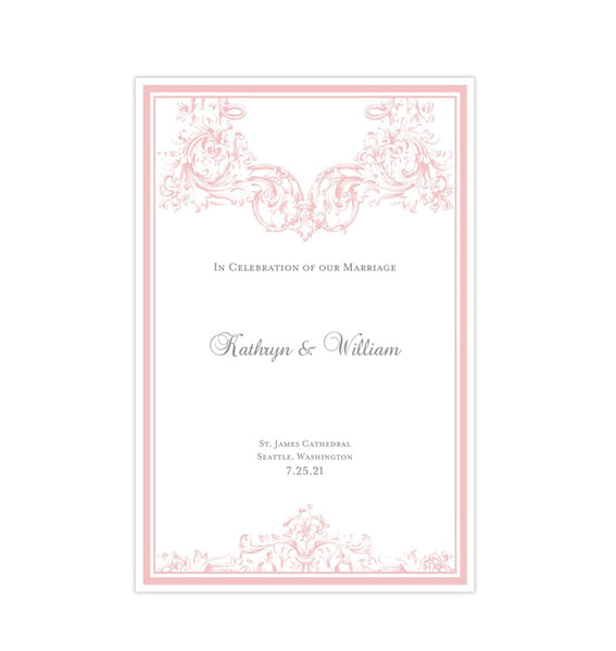 Catholic Church Wedding Program Vienna Blush Pink Printable DIY