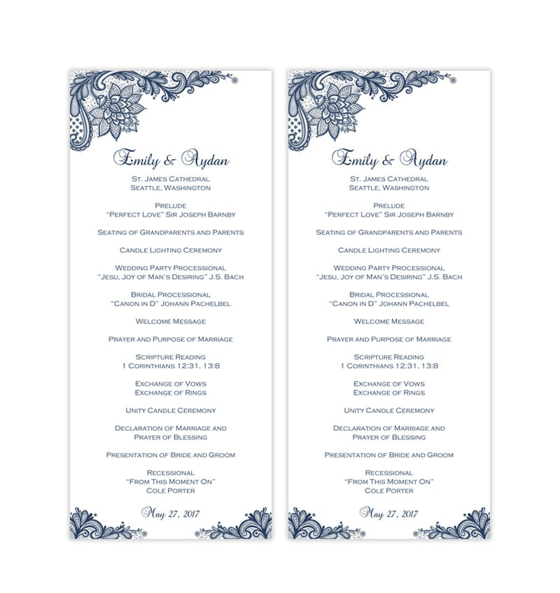 Slim Wedding Program Template Vintage Lace Navy Blue