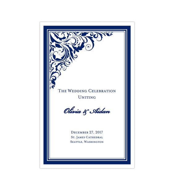 Wedding Program Template Brooklyn Navy Blue Printable DIY