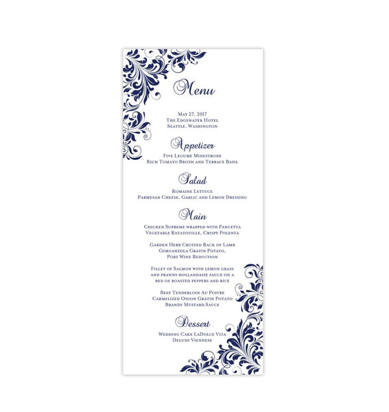 Wedding Menu Card Kaitlyn Navy Blue Tea Length Printable DIY Templates