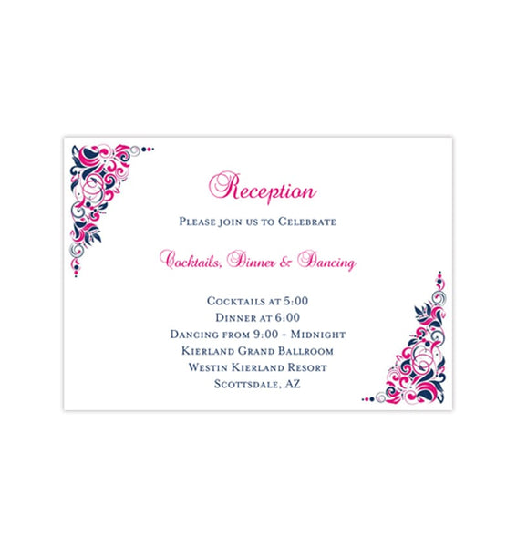 Wedding Reception Invitations Gianna Hot Fuchsia Pink Navy Blue Printable Template
