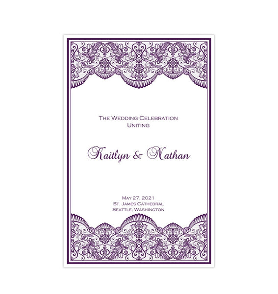 Wedding Program Template Vintage Lace Purple Eggplant Printable DIY