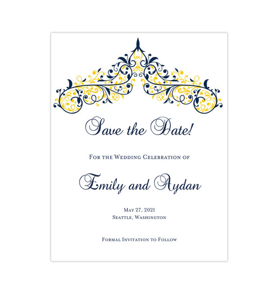 Wedding Save the Date Cards Victoria Navy Yellow Printable DIY Templates