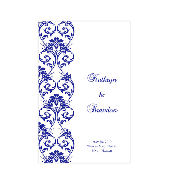Wedding Program Template Tropical Damask Royal Blue Printable DIY