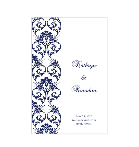 Wedding Program Template Damask Navy Blue Printable DIY