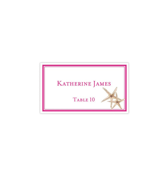 Wedding Seating Card Beach Starfish Pink Tent Printable DIY Templates