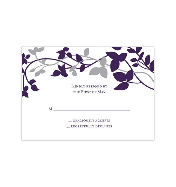 Wedding Response Cards Forever Entwined Purple Silver Gray