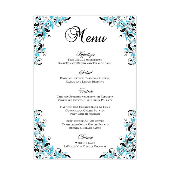 Wedding Reception Menu Template Kaitlyn Malibu Blue Black 5x7 Printable DIY