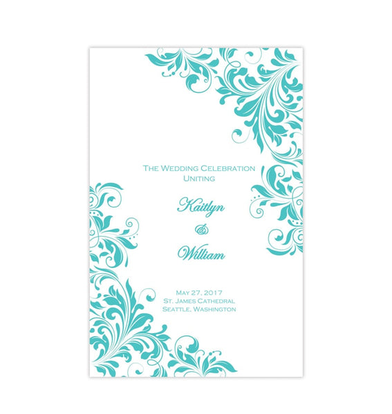 Catholic Church Wedding Program Kaitlyn Robin's Egg Blue Printable DIY