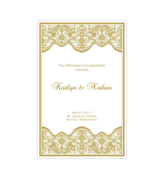 Catholic Church Wedding Program Vintage Lace Gold (2) Order of Service Printable DIY