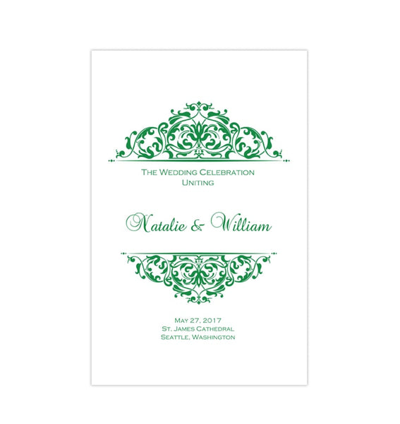 Wedding Program Template Grace Emerald Green Printable DIY