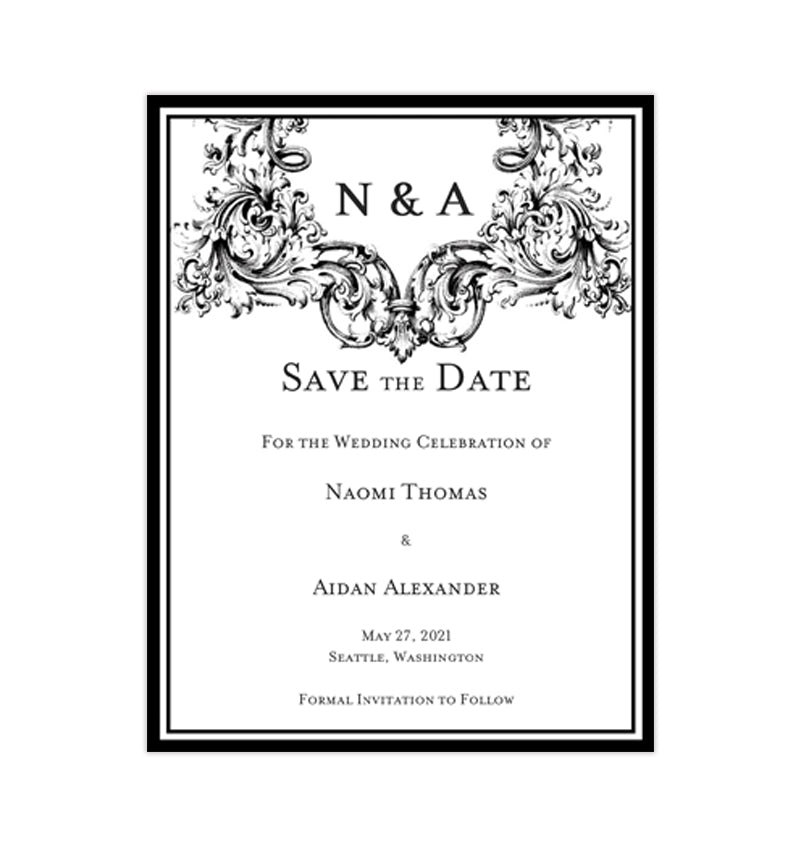 Wedding Save The Date Cards Vienna Black White Wedding Template Shop