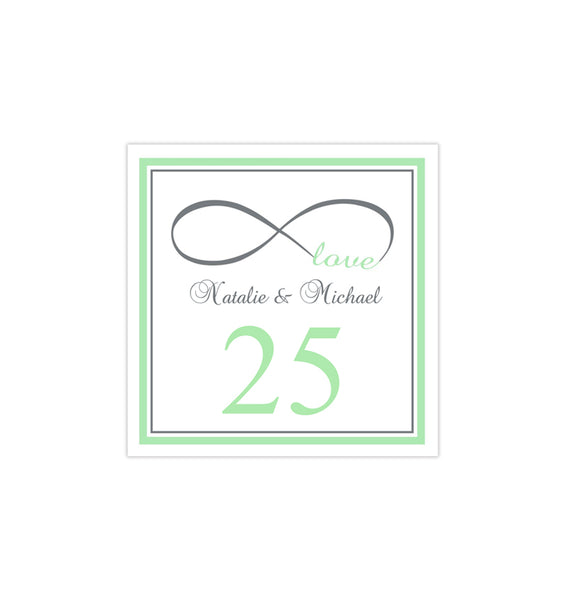 Printable Table Number Template Infinity Love Mint Green Gray Tent DIY WEdding
