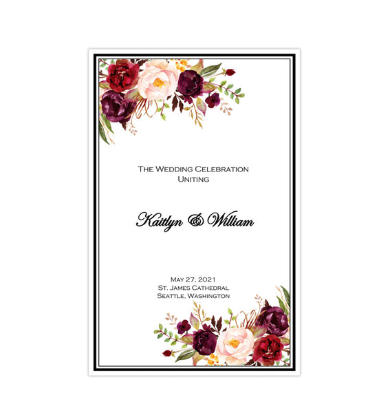 Catholic Church Wedding Program Burgundy, Red, Blush, Marsala Romantic Blossoms Printable DIY